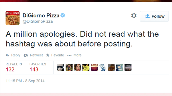 DiGiorno Bad Social Media Marketing Examples: Apology