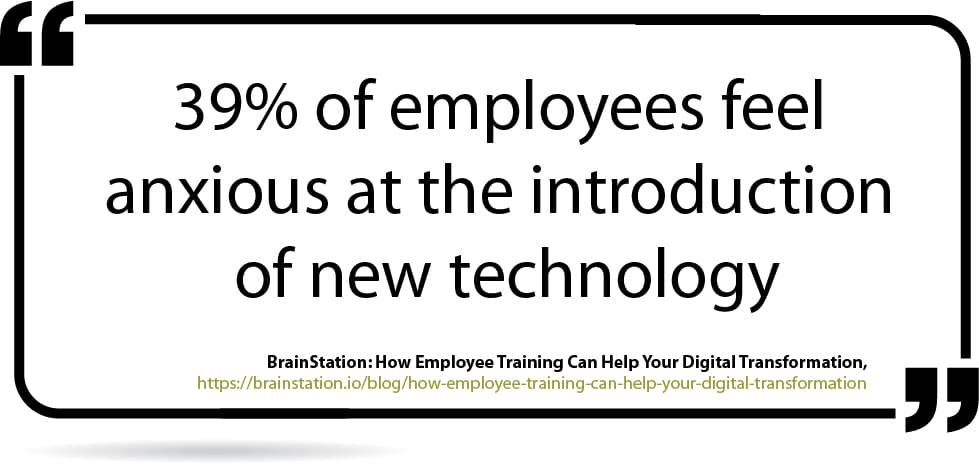 Quote on transitioning your employees when introducing new technology