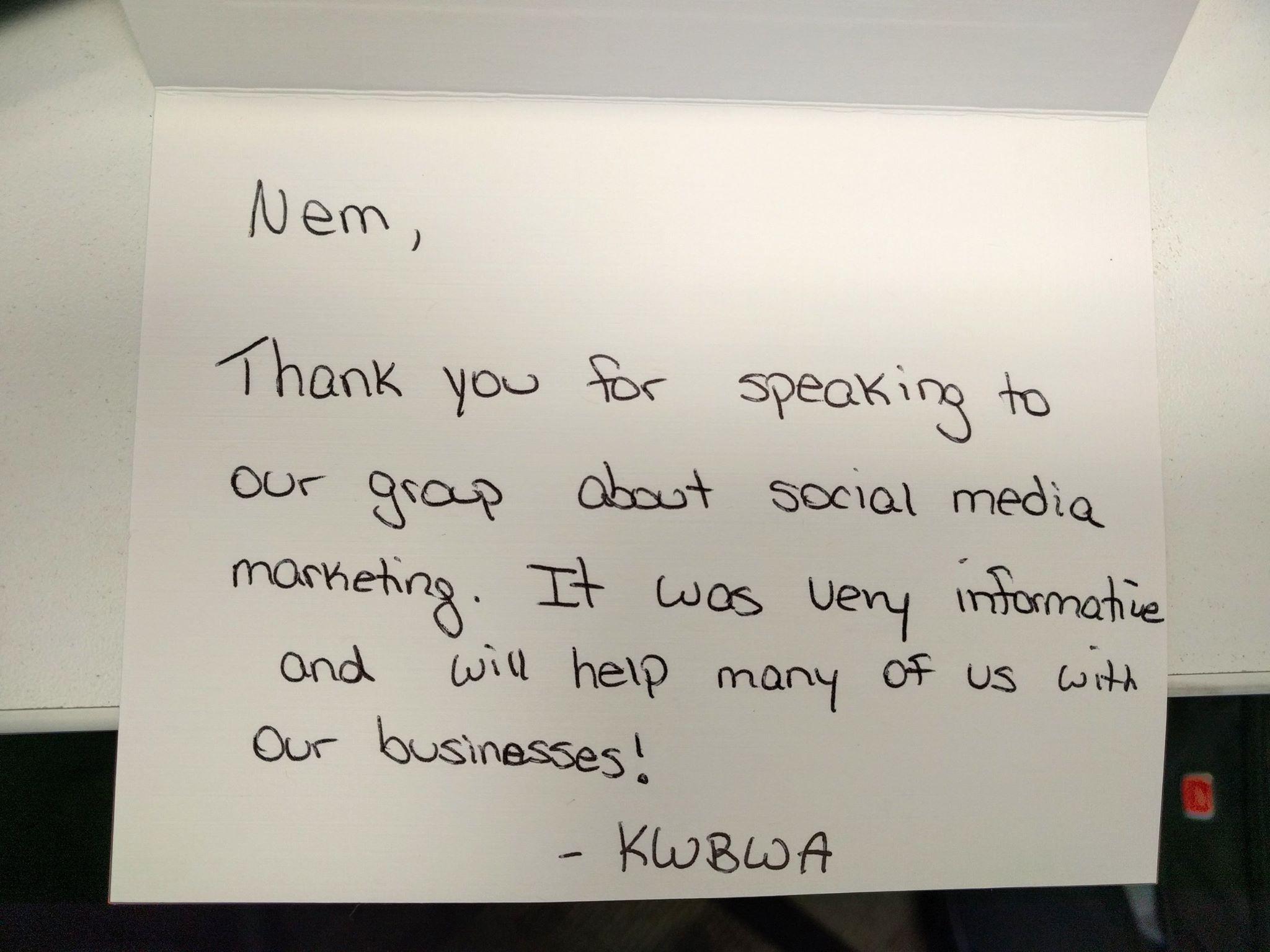 Digital Marketing Speaker: KWBWA Note